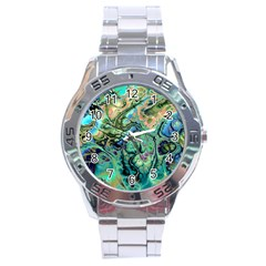 Fractal Batik Art Teal Turquoise Salmon Stainless Steel Analogue Watch