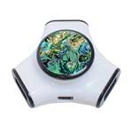 Fractal Batik Art Teal Turquoise Salmon 3-Port USB Hub Front