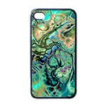 Fractal Batik Art Teal Turquoise Salmon Apple iPhone 4 Case (Black) Front