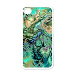 Fractal Batik Art Teal Turquoise Salmon Apple iPhone 4 Case (White) Front