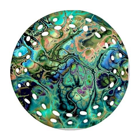 Fractal Batik Art Teal Turquoise Salmon Ornament (Round Filigree)