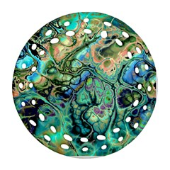 Fractal Batik Art Teal Turquoise Salmon Round Filigree Ornament (2side)