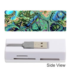 Fractal Batik Art Teal Turquoise Salmon Memory Card Reader (Stick)