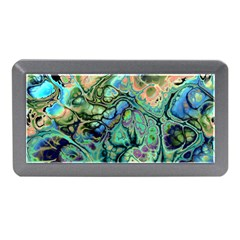 Fractal Batik Art Teal Turquoise Salmon Memory Card Reader (Mini)