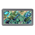 Fractal Batik Art Teal Turquoise Salmon Memory Card Reader (Mini) Front