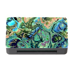 Fractal Batik Art Teal Turquoise Salmon Memory Card Reader With Cf