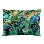 Fractal Batik Art Teal Turquoise Salmon Pillow Case (Two Sides) Back