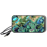 Fractal Batik Art Teal Turquoise Salmon Portable Speaker (Black)  Front