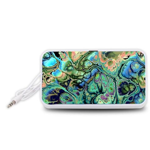 Fractal Batik Art Teal Turquoise Salmon Portable Speaker (White)