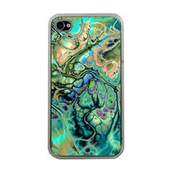 Fractal Batik Art Teal Turquoise Salmon Apple iPhone 4 Case (Clear)