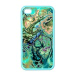 Fractal Batik Art Teal Turquoise Salmon Apple iPhone 4 Case (Color) Front