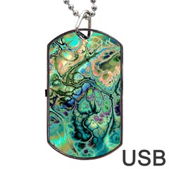 Fractal Batik Art Teal Turquoise Salmon Dog Tag Usb Flash (one Side)