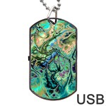Fractal Batik Art Teal Turquoise Salmon Dog Tag USB Flash (Two Sides)  Front