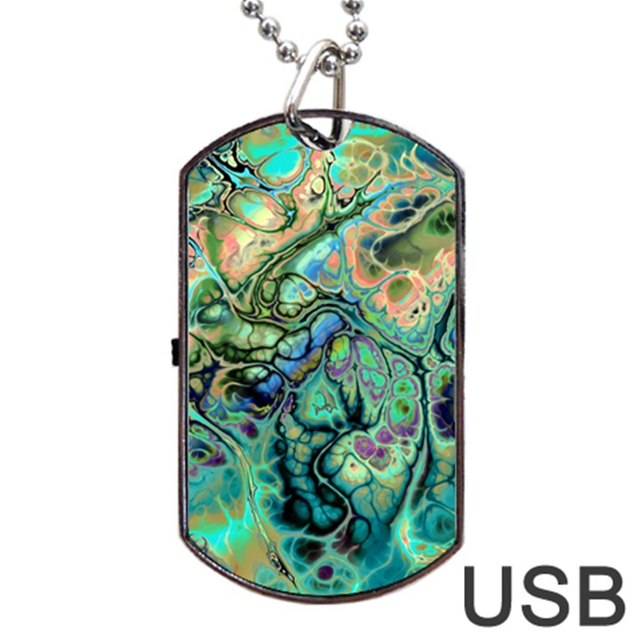 Fractal Batik Art Teal Turquoise Salmon Dog Tag USB Flash (Two Sides)
