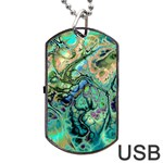 Fractal Batik Art Teal Turquoise Salmon Dog Tag USB Flash (Two Sides)  Back