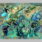 Fractal Batik Art Teal Turquoise Salmon Deluxe Canvas 24  x 20   24  x 20  x 1.5  Stretched Canvas