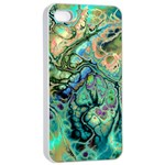 Fractal Batik Art Teal Turquoise Salmon Apple iPhone 4/4s Seamless Case (White) Front