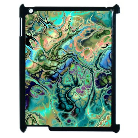Fractal Batik Art Teal Turquoise Salmon Apple iPad 2 Case (Black)