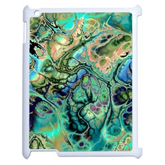 Fractal Batik Art Teal Turquoise Salmon Apple Ipad 2 Case (white)