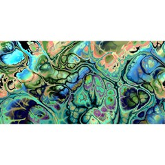 Fractal Batik Art Teal Turquoise Salmon YOU ARE INVITED 3D Greeting Card (8x4)
