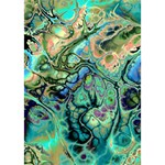 Fractal Batik Art Teal Turquoise Salmon Birthday Cake 3D Greeting Card (7x5) Inside