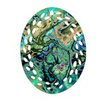 Fractal Batik Art Teal Turquoise Salmon Ornament (Oval Filigree)  Front