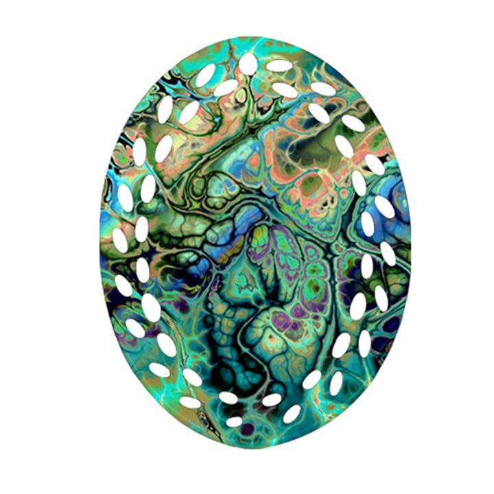 Fractal Batik Art Teal Turquoise Salmon Ornament (Oval Filigree)