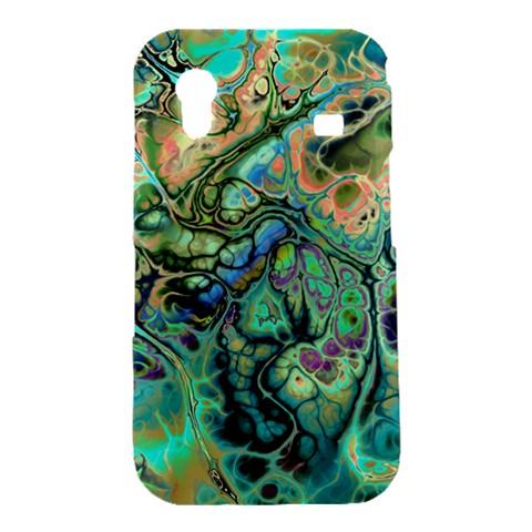 Fractal Batik Art Teal Turquoise Salmon Samsung Galaxy Ace S5830 Hardshell Case