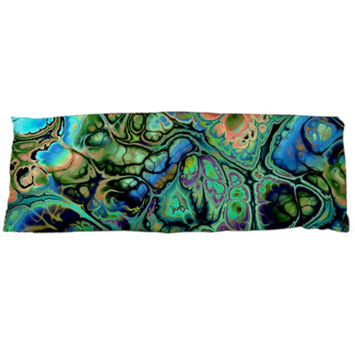 Fractal Batik Art Teal Turquoise Salmon Body Pillow Case (Dakimakura)