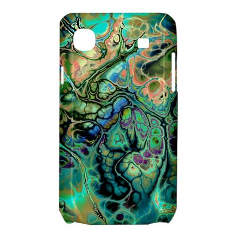 Fractal Batik Art Teal Turquoise Salmon Samsung Galaxy SL i9003 Hardshell Case