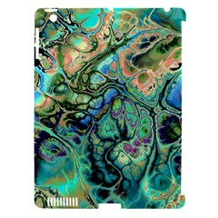 Fractal Batik Art Teal Turquoise Salmon Apple iPad 3/4 Hardshell Case (Compatible with Smart Cover)
