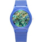 Fractal Batik Art Teal Turquoise Salmon Round Plastic Sport Watch (S) Front