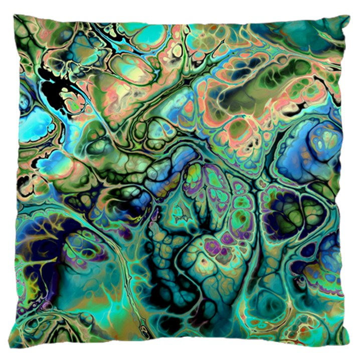 Fractal Batik Art Teal Turquoise Salmon Large Cushion Case (One Side)
