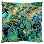 Fractal Batik Art Teal Turquoise Salmon Large Cushion Case (Two Sides) Back