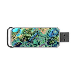 Fractal Batik Art Teal Turquoise Salmon Portable USB Flash (Two Sides)