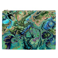 Fractal Batik Art Teal Turquoise Salmon Cosmetic Bag (XXL)
