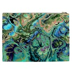 Fractal Batik Art Teal Turquoise Salmon Cosmetic Bag (XXL)  Back
