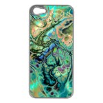 Fractal Batik Art Teal Turquoise Salmon Apple iPhone 5 Case (Silver) Front