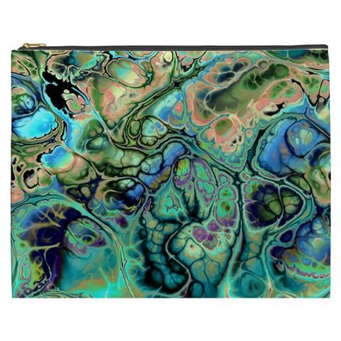 Fractal Batik Art Teal Turquoise Salmon Cosmetic Bag (XXXL)