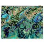 Fractal Batik Art Teal Turquoise Salmon Cosmetic Bag (XXXL)  Back