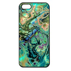Fractal Batik Art Teal Turquoise Salmon Apple iPhone 5 Seamless Case (Black)
