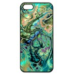 Fractal Batik Art Teal Turquoise Salmon Apple iPhone 5 Seamless Case (Black) Front