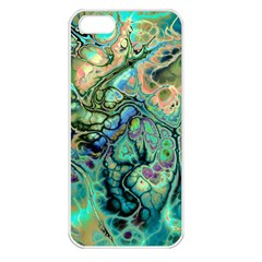 Fractal Batik Art Teal Turquoise Salmon Apple Iphone 5 Seamless Case (white)