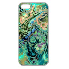 Fractal Batik Art Teal Turquoise Salmon Apple Seamless Iphone 5 Case (clear)