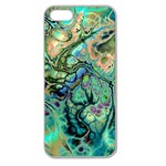 Fractal Batik Art Teal Turquoise Salmon Apple Seamless iPhone 5 Case (Clear) Front