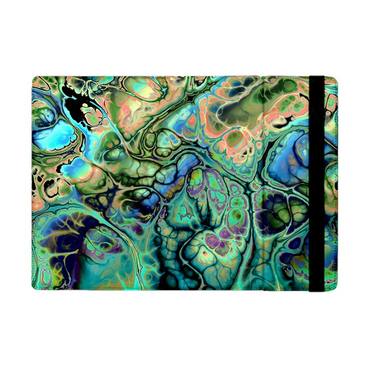 Fractal Batik Art Teal Turquoise Salmon Apple iPad Mini Flip Case