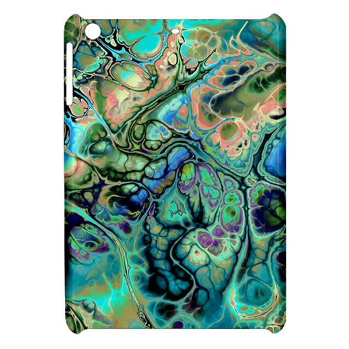 Fractal Batik Art Teal Turquoise Salmon Apple iPad Mini Hardshell Case