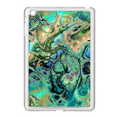 Fractal Batik Art Teal Turquoise Salmon Apple Ipad Mini Case (white)