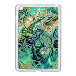 Fractal Batik Art Teal Turquoise Salmon Apple iPad Mini Case (White) Front