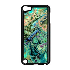 Fractal Batik Art Teal Turquoise Salmon Apple Ipod Touch 5 Case (black)
